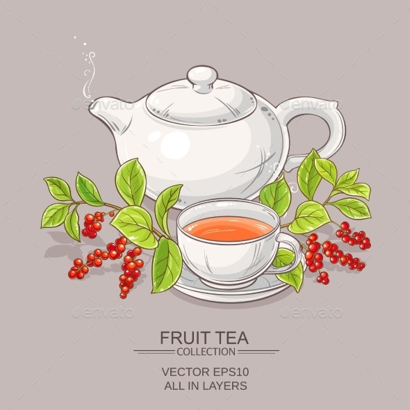 Cup of Schisandra Tea and Teapot - Food Objects
