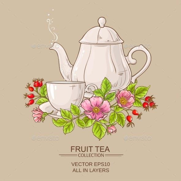 Cup of Dog Rose Tea and Teapot