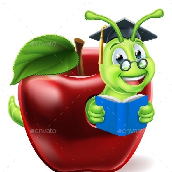 Book Worm Cartoon Character