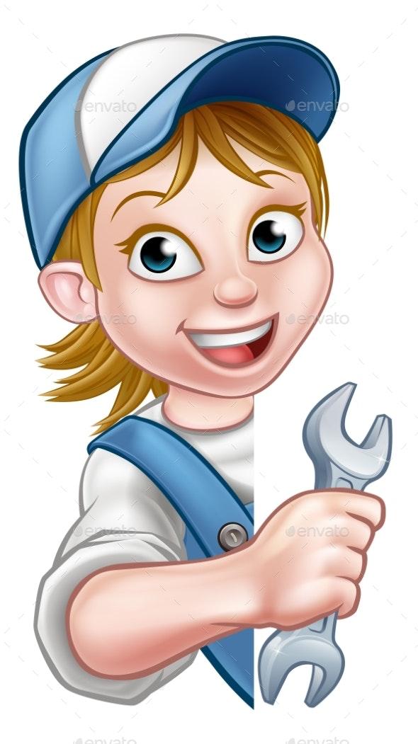 Mechanic Plumber Woman Cartoon Character - People Characters