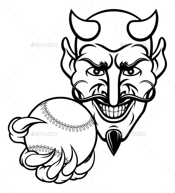 Devil Baseball Sports Mascot - Sports/Activity Conceptual