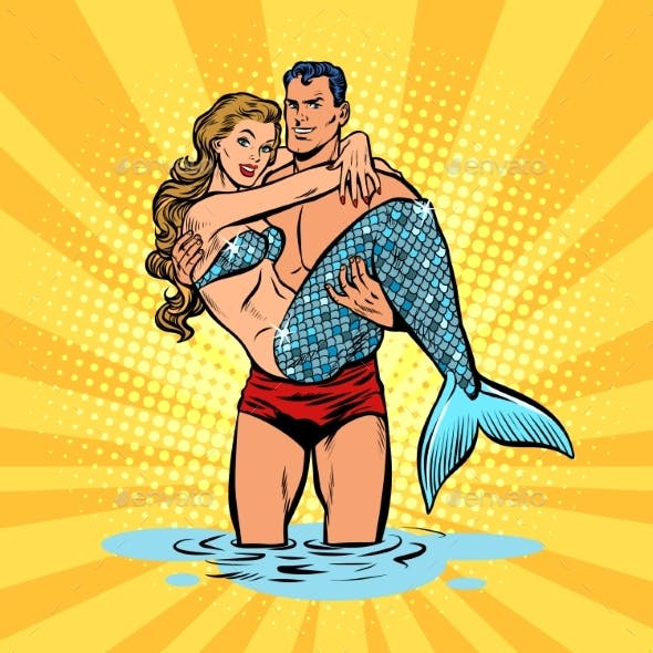 Couple in Love  Mermaid and Male Swimmer
