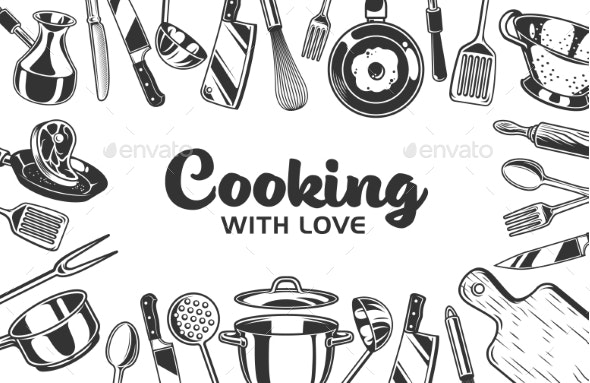 Vector Kitchen Background - Food Objects