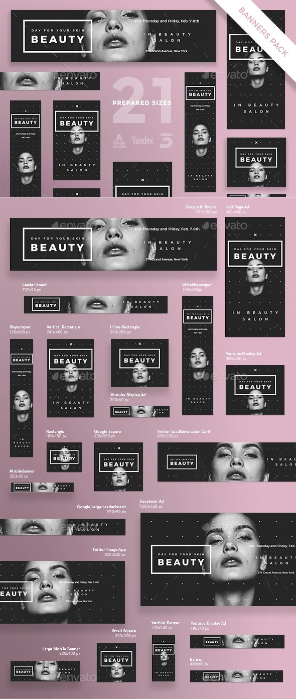 Beauty Salon Banner Pack - Banners & Ads Web Elements