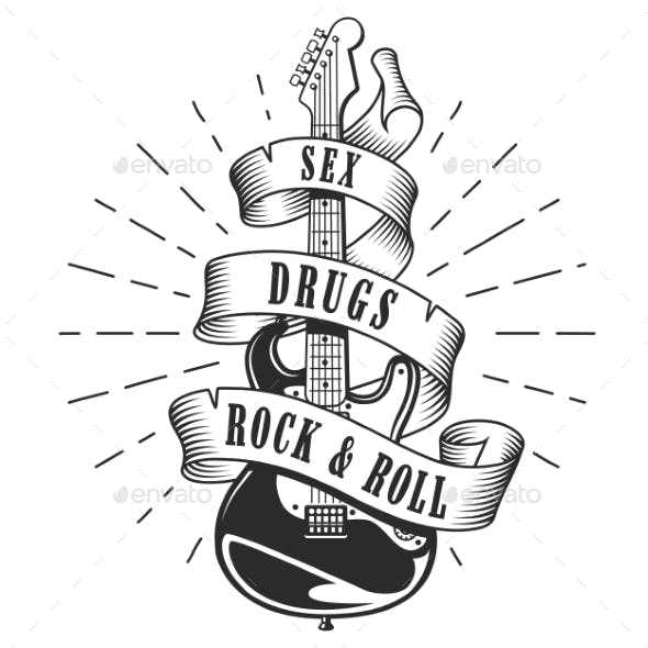 Retro Print for Rock Guitar Music Festival