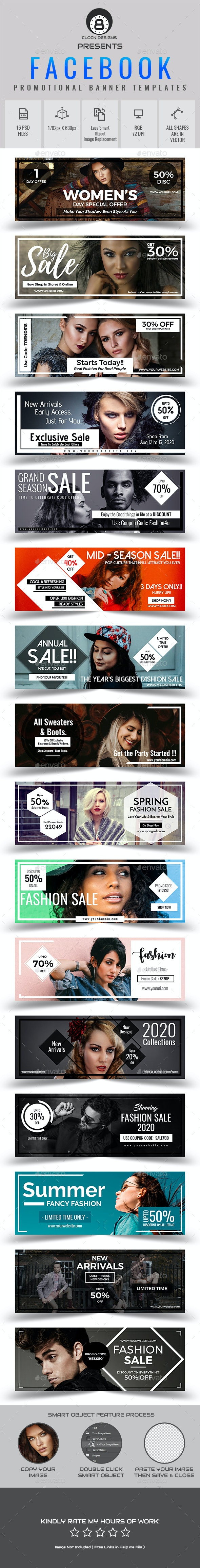 Promotional Facebook Cover Templates (16 in 1) - Facebook Timeline Covers Social Media