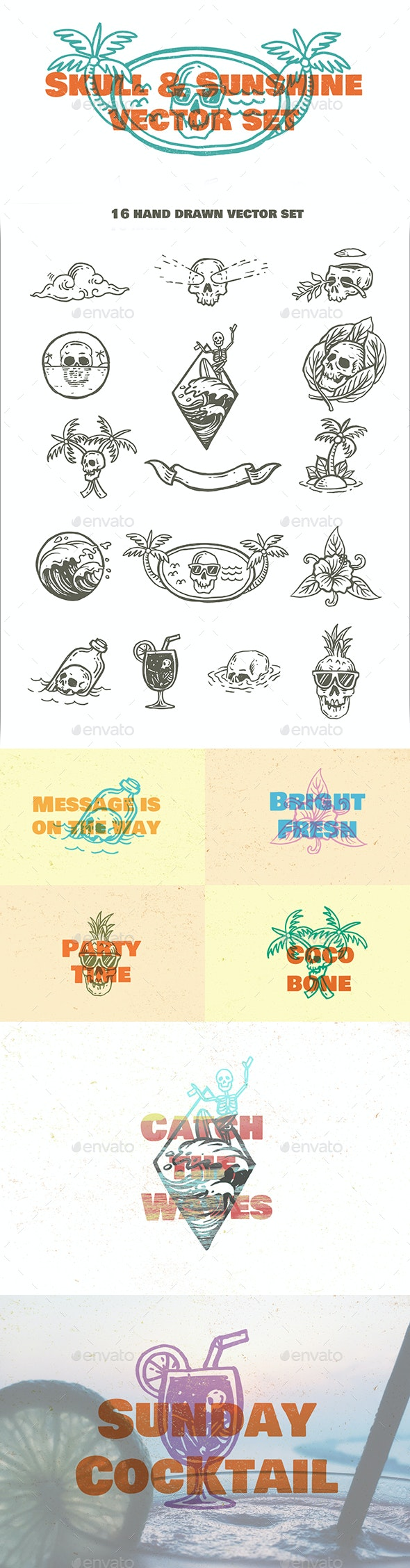 Skull and Sunshine Vector Set - Objects Vectors