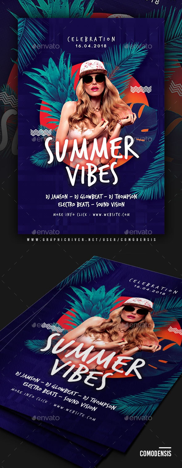 Summer Vibes Dj Flyer Templates - Clubs & Parties Events