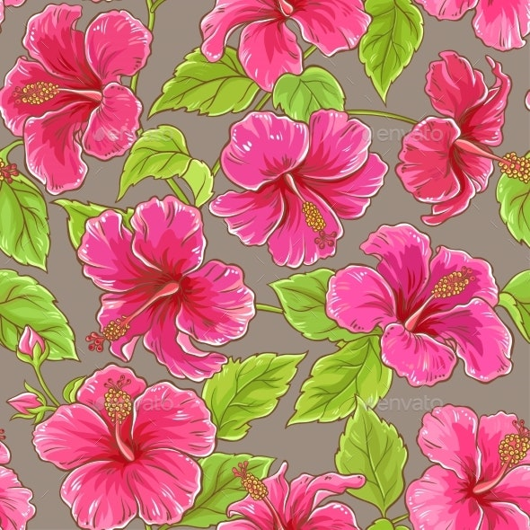 Hibiscus Vector Pattern - Flowers & Plants Nature