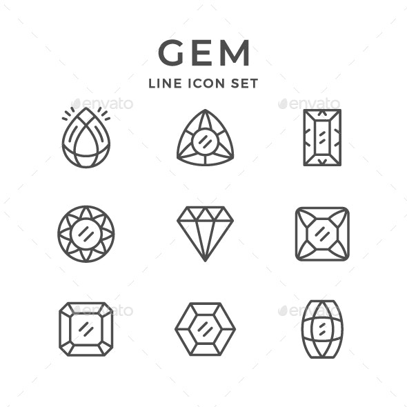 Set Line Icons of Gem - Man-made objects Objects