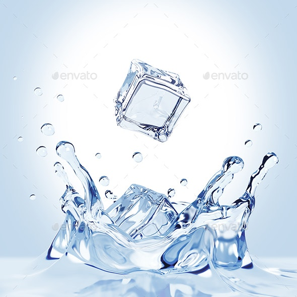 Ice Cubes Fall Into The Water - 3D Backgrounds