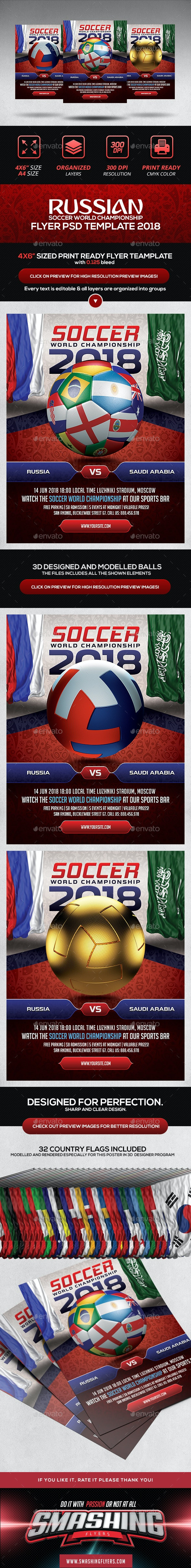 Soccer World Championship 2018 Flyer - Sports Events