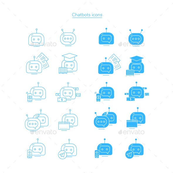 Chatbot icons set