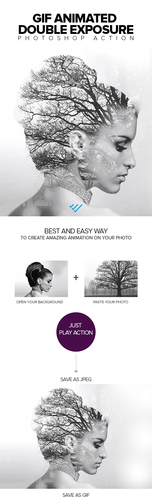 Gif Animated Double Exposure Photoshop Action - Photo Effects Actions