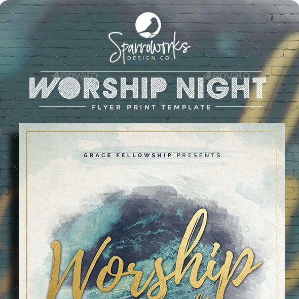 Modern Worship Night Flyer Template