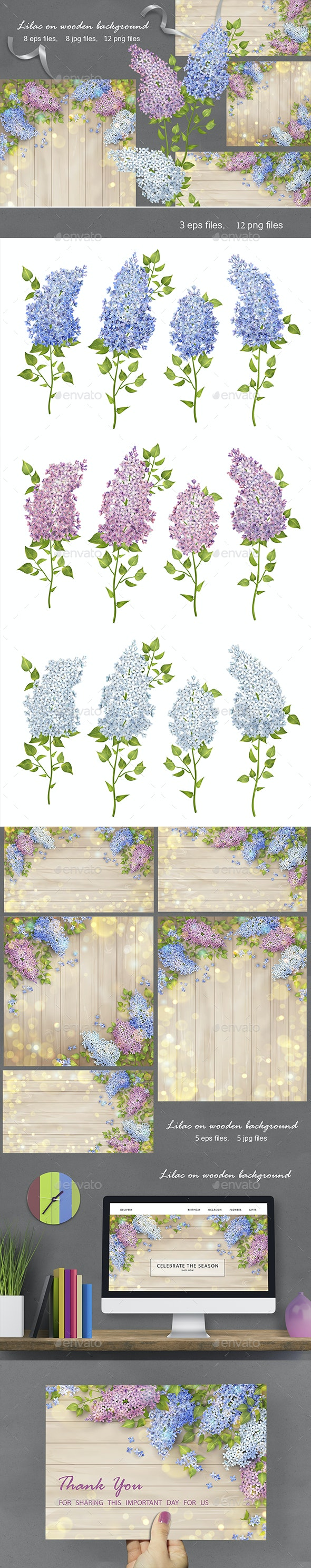Flowers on Wooden Background - Backgrounds Decorative