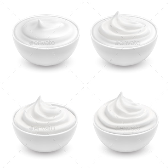 Vector Set of White Ceramic Bowls with Sour Cream - Food Objects