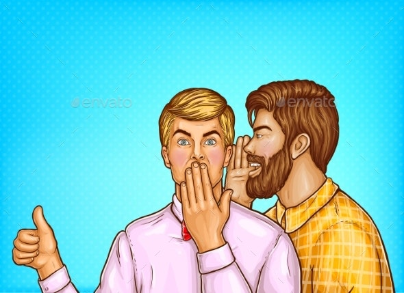 Vector Pop Art Men Whisper About Sales - People Characters
