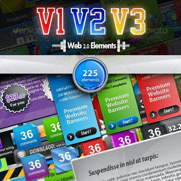 BUNDLE | 225 Web 2.0 Elements