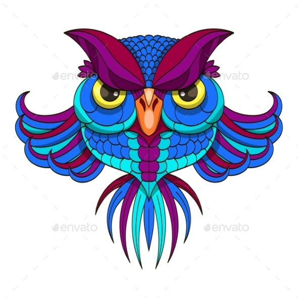 Colored Owl - Vector Illustration