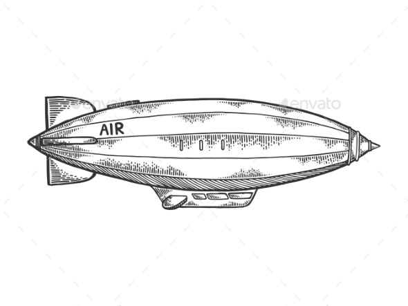 Airship Dirigible Engraving Vector Illustration - Miscellaneous Vectors