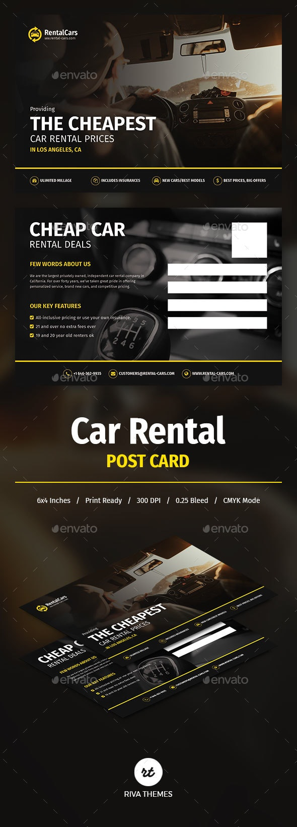 Car Rental Post Card #2 - Industry Specific Business Cards