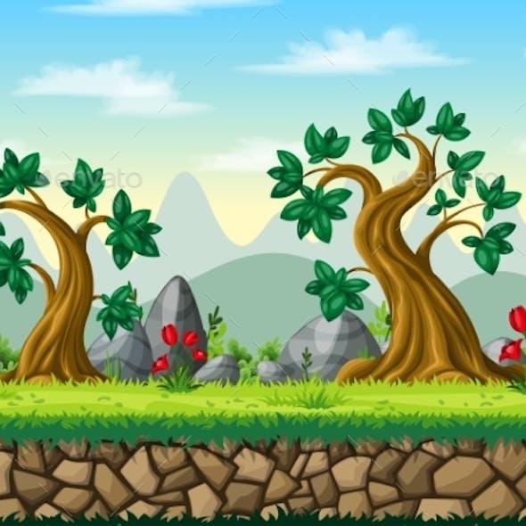 Seamless Cartoon Nature Background