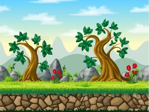 Seamless Cartoon Nature Background - Flowers & Plants Nature