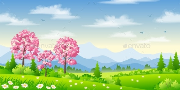 Spring Landscape with Trees - Flowers & Plants Nature