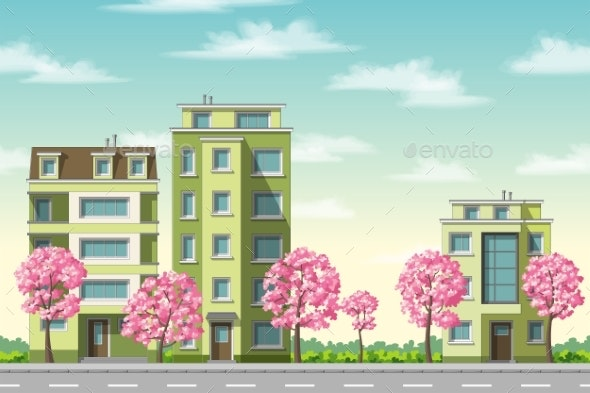 Spring in The City - Buildings Objects