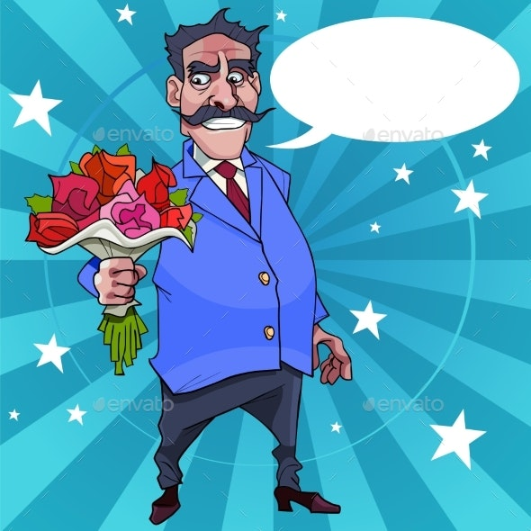 Cartoon Man with a Mustache Wishes with Flowers - People Characters