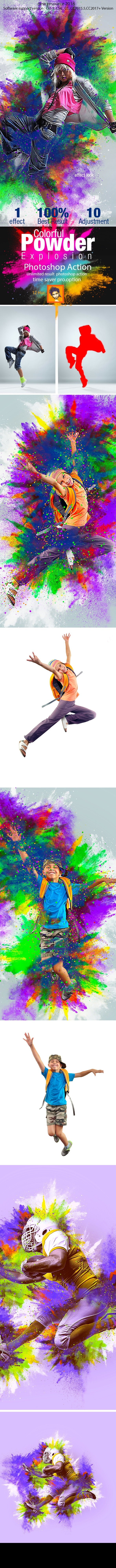 Colorful Powder Explosion Action - Photo Effects Actions
