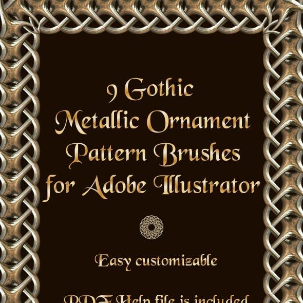 9 Metallic Gothic Ornament Pattern Brushes -  Weaving Motive Adobe Illustrator Brushes