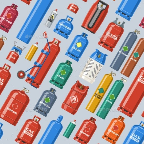 Gas Cylinder Vector Lpg Gas-bottle and Gas