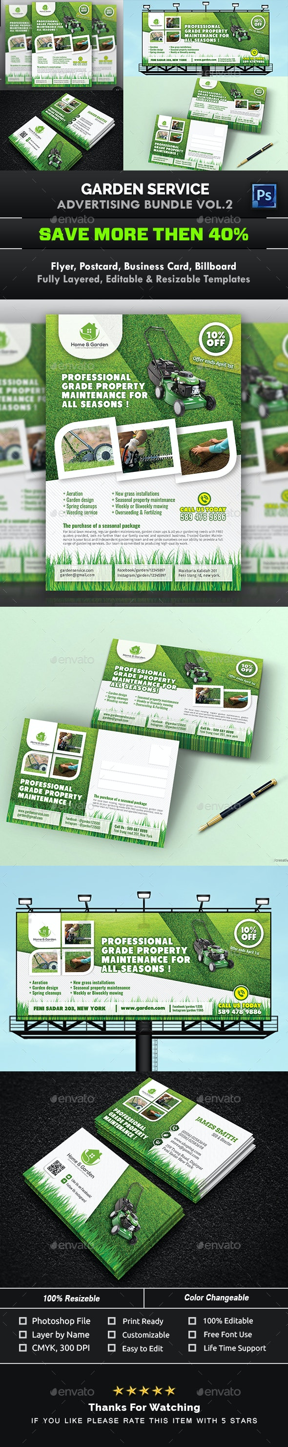 Garden Landscape Advertising Bundle Vol.2 - Signage Print Templates