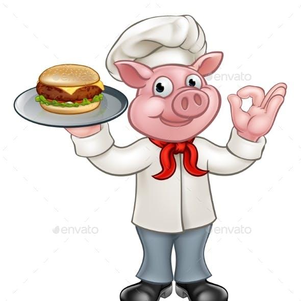 Cartoon Character Pig Chef Holding Burger