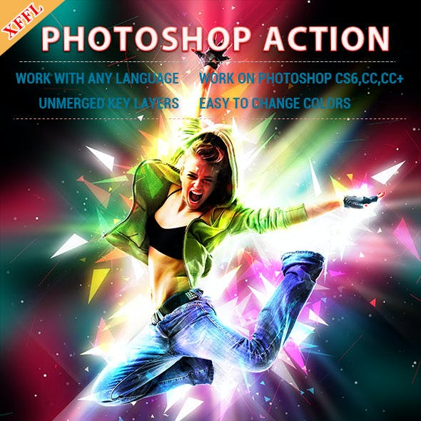 Colourful Light Effect Photoshop Action