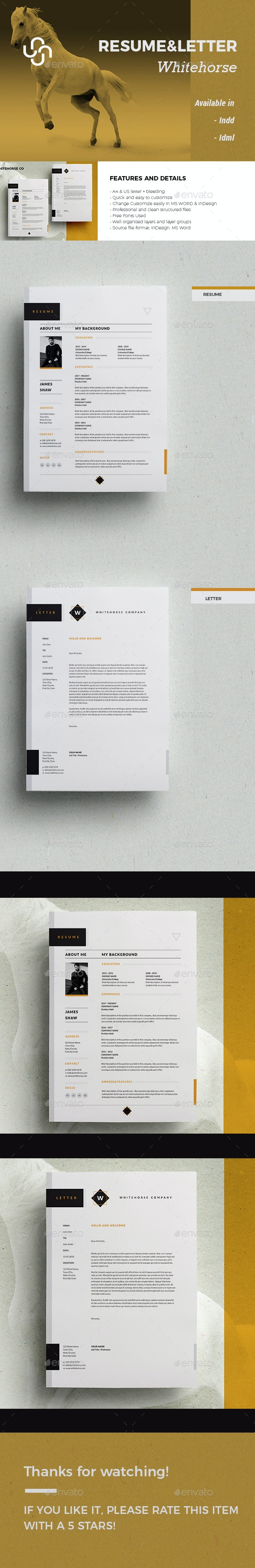Resume and Letter - Whitehorse - Resumes Stationery