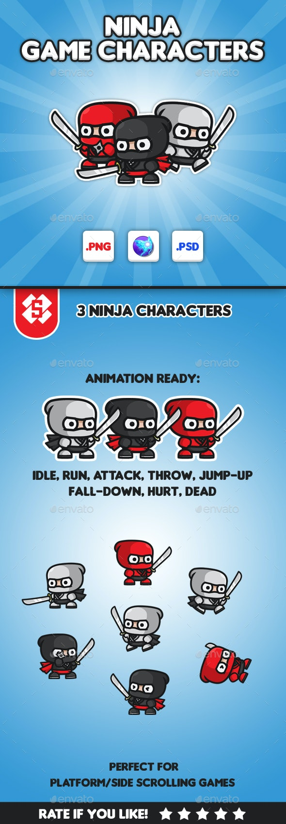 Ninja Chibi - Game Characters - Sprites Game Assets