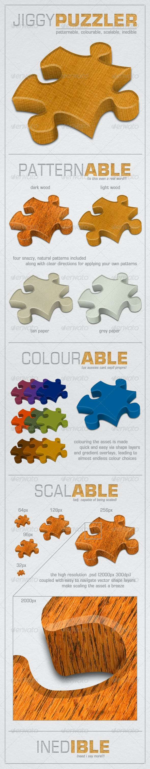 PSD Jigsaw Puzzle Piece - Miscellaneous Isolated Objects