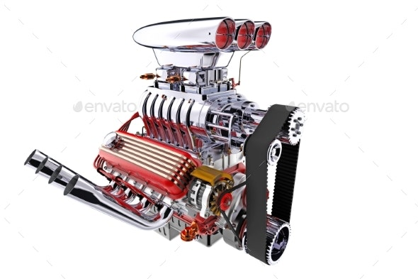 Hot Rod Engine Isolated. 3D Render - Objects 3D Renders