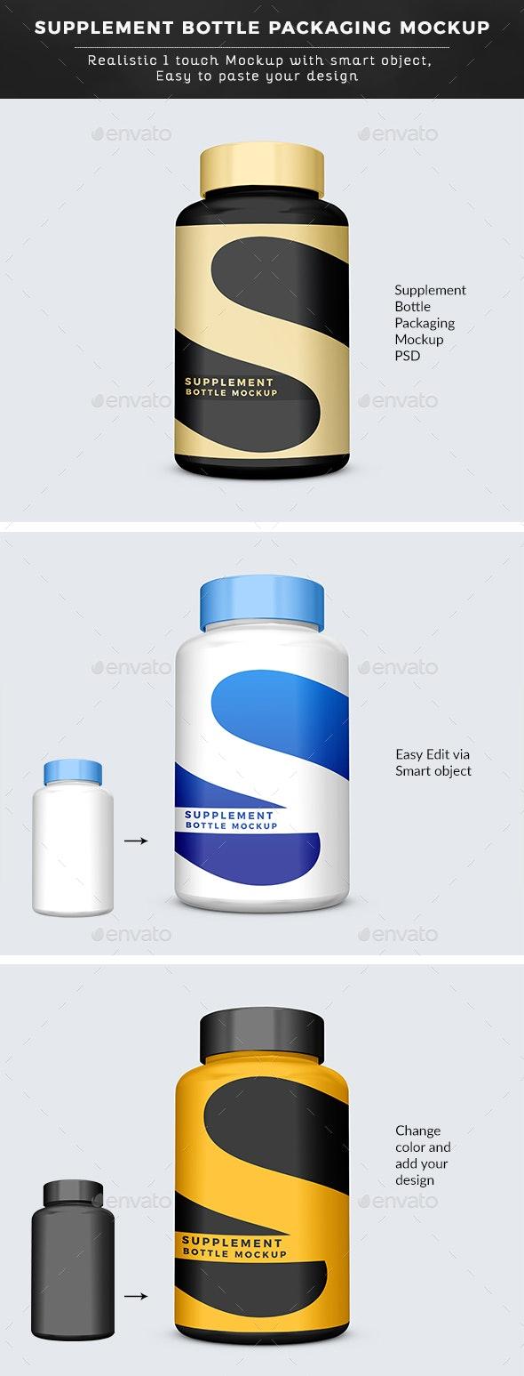 Big Supplement Bottle Packaging Mockup - Graphics