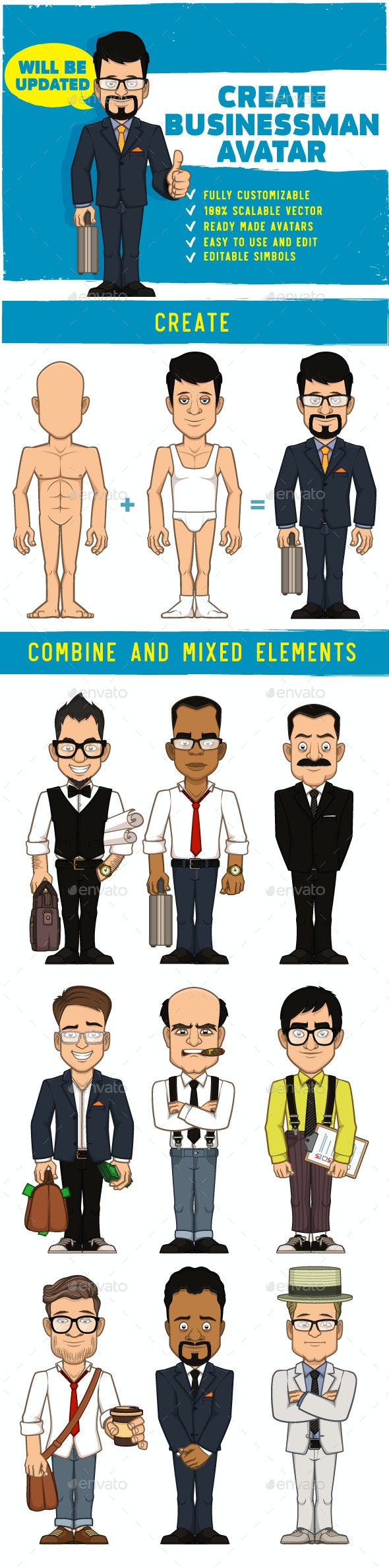 Businessman Characters & Avatars Creation Kit - People Characters