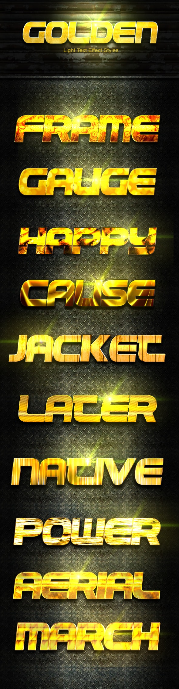 10 Photoshop GOLD Text Effect Styles Vol 2 - Text Effects Styles