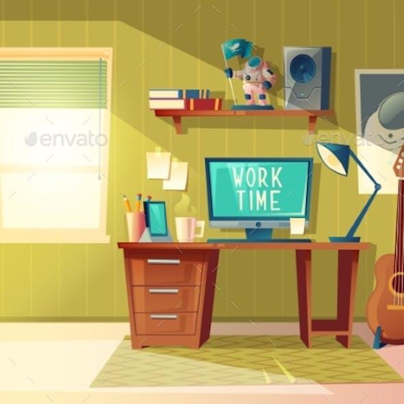 Vector Cartoon Home Office Interior Workplace