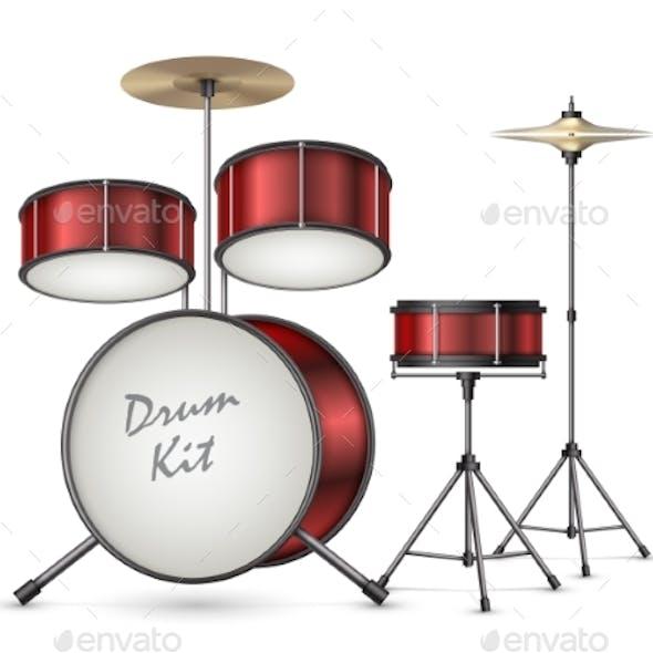 Vector Realistic Drum Kit