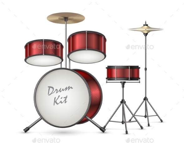 Vector Realistic Drum Kit - Man-made Objects Objects