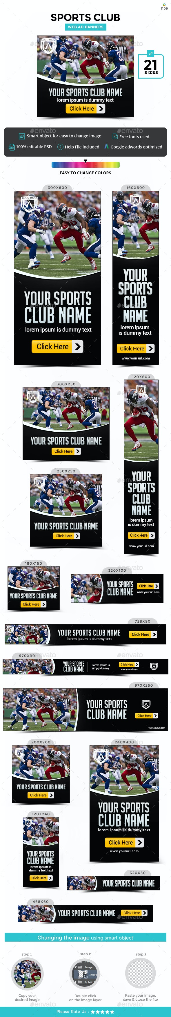 Online Sports Store Web Banners - Banners & Ads Web Elements