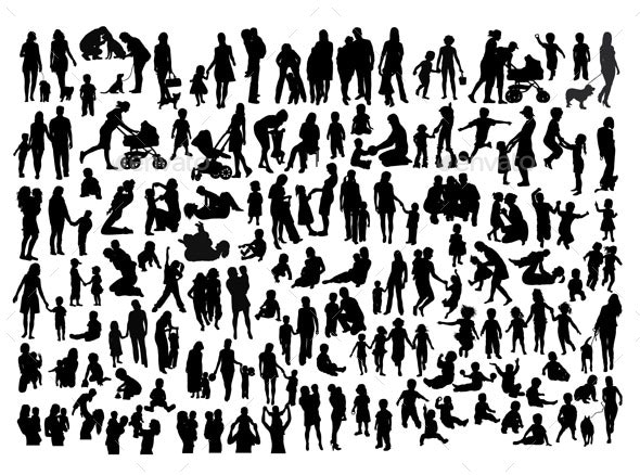 Happy Family Silhouettes - People Characters