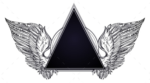 Surreal Triangle Frame with Angel or Bird Wings - Decorative Symbols Decorative